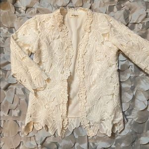 Beautiful white lace jacket for girls.